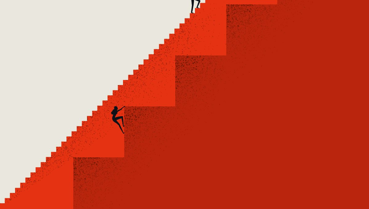woman climbing big stairs while a man climbs past her on easier stairs